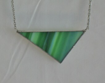 Green Stained Glass Triangle Necklace
