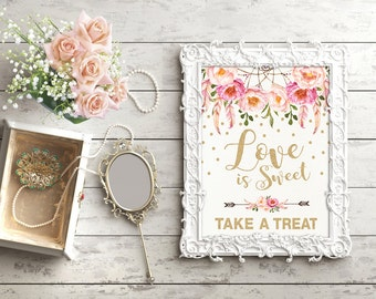 Boho Floral Love is Sweet Sign. Printable Pink and Gold Dreamcatcher Love is Sweet Take a Treat Bohemian Bridal Shower. Wedding sign. FLO12A