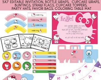 Hello Kitty Birthday, Hello Kitty Invitation, Dear Daniel, Hello Kitty Party, Instant Download, PDF Editable, Printables