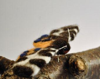 Handmade Needle Felt Garden Tiger Moth Sculpture
