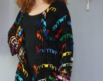 Colorful openwork cardigan crochet handmade