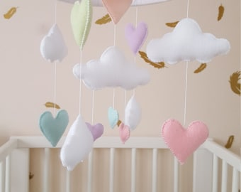 heart baby mobile, Pastel crib mobile, baby mobile, heart and cloud baby mobile, nursery decor, baby gift, baby shower gift