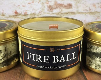 FIREBALL Spell Candle | Book-Fantasy-RPG-Geek Gift | Gold Tin, Wood Wick, Soy Wax, Artisan | Epic Adventure Candle Co.