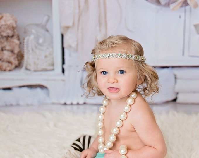 Baby Girls boho headband, green headband, bloomers, necklace, bracelet, headband; green and beige, baby photography prop, birthday outfit