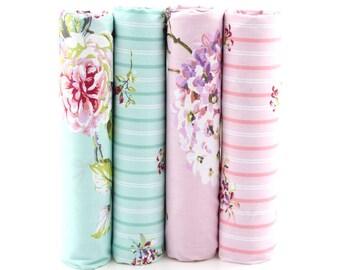 4pcs/lot Sweet Pastel Colour Floral Print Cotton Fabric