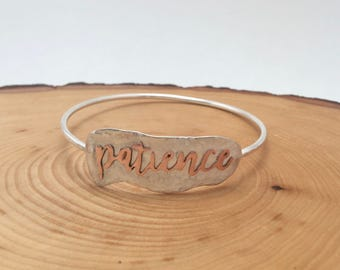Patience Sterling Silver and Copper Bangle