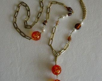 Amber Chain Sautoir Necklace