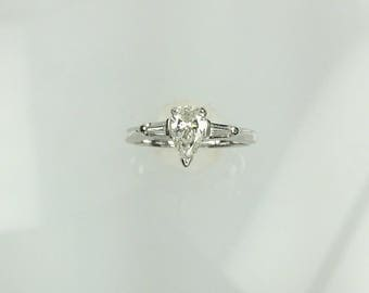 Vintage 1960's pear shape and baguette diamond engagement ring .46ct
