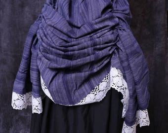 Purple stripped bustle with white lace
