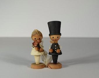 Mini Wooden Bride and Groom Dolls Caketopper #4