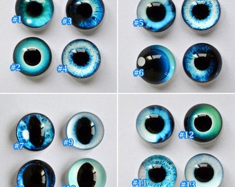 Glass Eyes Blue Collection 13 Colour Designs  Glass Taxidermy Doll Eyes Cabochons - Pair or Single-You Choose Size and Сolor