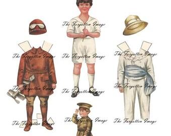 DIGITAL PAPER DOLL, Vintage Boy Paper Doll, Printable Paper doll, Digital Doll Clothes, Digital Ephemera Paper Dolls