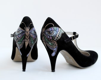 Butterfleye Hand Painted Upcycled  Women's T-Bar Suede Shoes