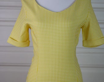 Swedish Vintage Yellow Dress, Knee-Length Short-Sleeve Spring Dress, Yellow White Checked Dress, 1990s Summer Dress: Size 8 US, Size 12 UK