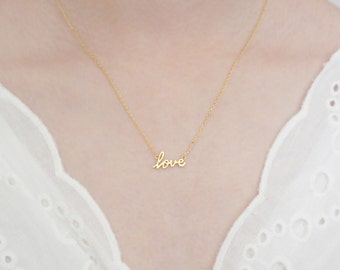 Love Cursive Pendant Gold Plated Necklace For Women/ Girls Jewelry