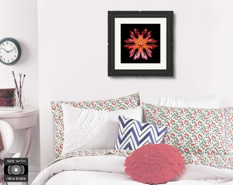 Fractal Print, Wall Art, Printable Mandala, Symmetrical, Home Decor, Symmetry, Square, Poster, Download, Orange, Red, Pink, Black, Abstract