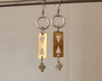 Mixed Metal Brass Cut Out Earrings