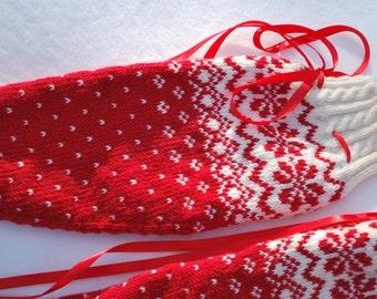 Red and White Knee High Socks. Christmas socks. High Wool Ladies Socks.