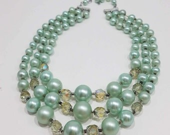 Classy & Beautiful Triple Strand Faux Pearl with Crystal Necklace from Japan