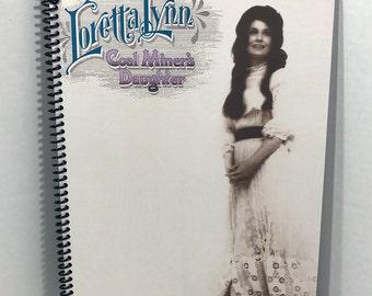 Loretta Lynn Album Cover Notebook Handmade Spiral Journal Coal Miner's Daughter