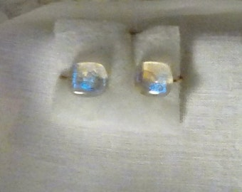 Clear back dichroic glass earrings