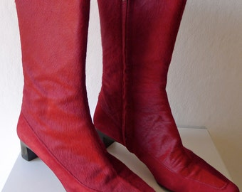 Leather knee boots suede and Red Horse 37