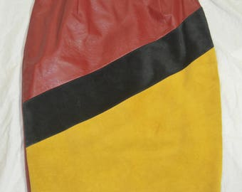 Womens Vintage Color Block Red Black and Yellow Lined  Leather / Suede Skirt
