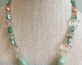 "Upcycled Vintage Beads ""Sea Glass"" Necklace - Jewelry Made with Vintage/ Recycled Materials"