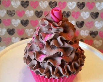 Chocolate Fake Cupcake with Handmade candy Pink Rosebud, Photo Props, Home Kitchen Decor Displays, Party Decorations