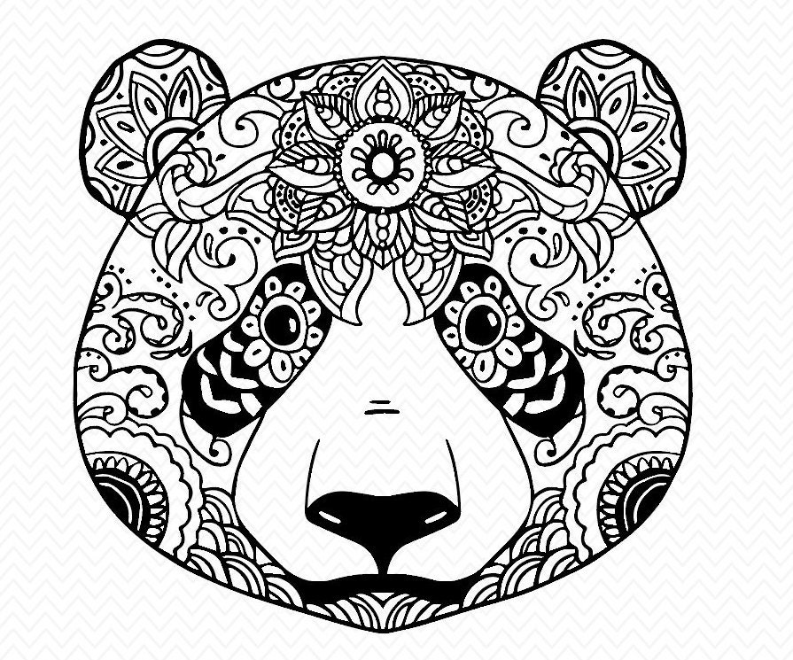 Hand Made Panda SVG Silhouette or Cricut file Mandala panda