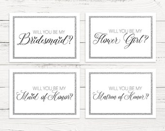 Will you be my bridesmaid printable set, maid of honor, flower girl, thank you card, wedding card set, bridal proposal card set, silver card