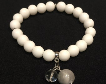White Natural Stone Bead Bracelet