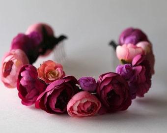 Flower crown POLINA in FUCHSIA, Floral Hairpiece, Spring Crown, Wedding crown, Flower headband, Hair Accessories, Headband, Wreath