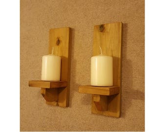Pair of Simple Handmade Rustic 30cm Wooden Candle Sconces - Wall Mounted, available in various colours and stains