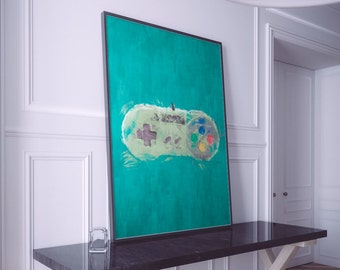 Nintendo Painting Print. Nintendo Retro Gaming Poster. Large Sizes Available. SNES Controller