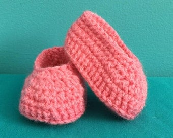 0-6 Month Old Soft Pink Baby Booties | Pink Baby Shoes | Baby Shower Gifts | Mother to Be Gifts | READY TO SHIP