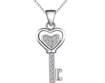 sterling silver gem key pendant charm for necklaces