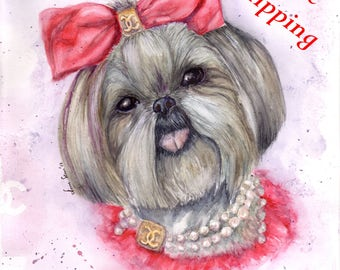 Chanel Dog portrait. Memorable pet portrait, Watercolor painting from your photographs. Original hand painted art. Idea for Gift. Mom gift.