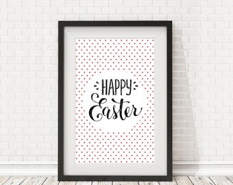 Happy easter poster, Easter card, Easter decoration, Easter spring, Happy easter print, Easter home decor, PRINTABLE art, Easter deco sign