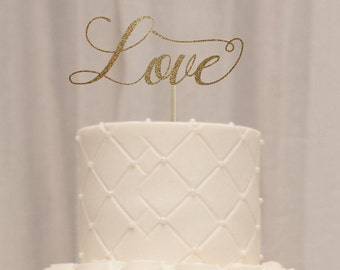 Love cake topper, wedding cake topper, cake toppers for wedding, engagement party cake topper, rehearsal dinner cake topper gold cake topper