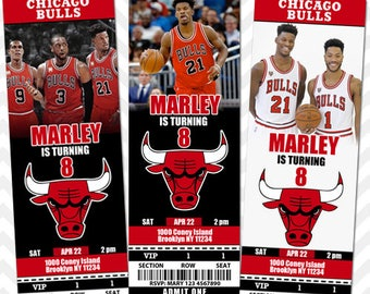 Chicago Bulls Invitation, Chicago Bulls Invite, Chicago Bulls VIP Pass, Basketball Birthday Invitation, Chicago Save the Date Card