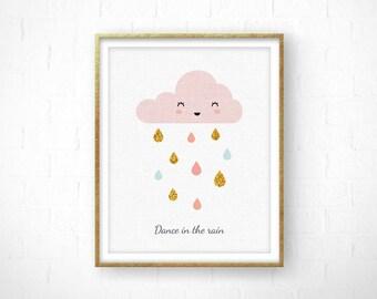 Scandinavian Print, Rain Drops Cloud, Cloud Nursery, Cloud Print, Nursery Cloud, Baby Shower Gift, Rain drops Nursery, Minimalist Nursery