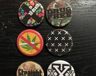 Straight Edge Pin Pack - Drug Free, XXX, SXE