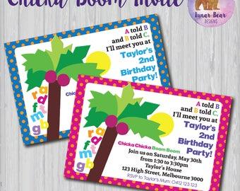Chicka Chicka Boom Boom Invitation, Chicka Chicka Boom Boom Birthday Party, Book Theme, Chicka Boom Invite, Chicka Boom Party