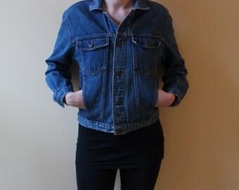 Vintage Lee Cooper Denim Jacket Dark Blue Jeans Jacket 80s 90s Jeans Wear