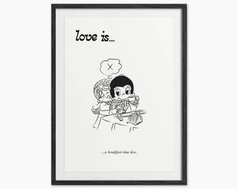 Love is...A Breakfast Time Kiss - Cute Comic Art Print