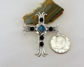 Inspirational Black Onyx and Jasper Stamped, Handcrafted Sterling Silver Cross Pendant