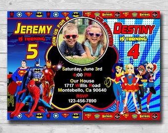 Dc Superhero Girls Invitation-Dc Superhero Boys Invitation-Twins Superhero Invitation-Superhero Sibling Invitation-Super Hero Party-Digital