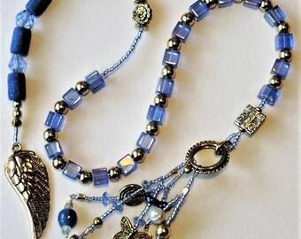 Blue Square Glass Baha'i Prayer Beads