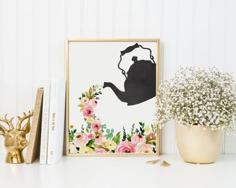 Coffee Pot Print-Teapot Print-Floral Coffee Print-Floral Tea Print-Coffee Print-Tea Print-Pouring Coffee Tea-Instant Download-Wall Art Decor